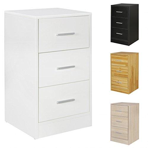 FineBuy Nachtkonsole OLE Holz Nachttisch modern mit 3 Schubladen   Design Nachtkästchen 37,5 x 68 x 35 cm   Extra hohes Nachtschränkchen …