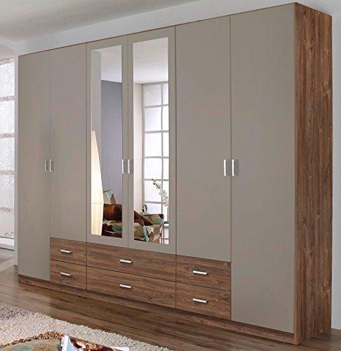 Rauch Kleiderschrank 6-türig, 2 Spiegeltüren, 6 Schubkästen, Eiche Stirling-lavafarbig