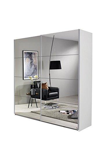 Rauch Schwebetürenschrank-Kleiderschrank mit Spiegelfront, Korpus Weiß Alpin, 2 türig, BxHxT 136x197x61 cm