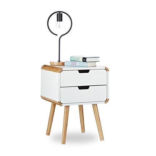 Relaxdays Nachttisch 2 Schubladen, Holz Nachtschrank, platzsparende Schlafzimmer Kommode, HxBxT: 55 x 40 x 40 cm, weiß