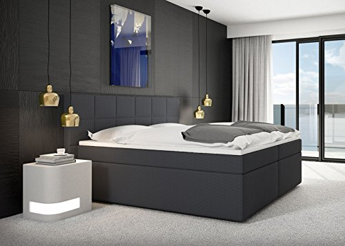 SAM® Design Boxspringbett Salerno mit Nero Stoff-Bezug in anthrazit mit Bonellfederkern, 7-Zonen H2 Taschenfederkern-Matratzen, Viscoschaum-Topper, Memory-Effekt, optimale Einstiegshöhe, 180 x 200 cm