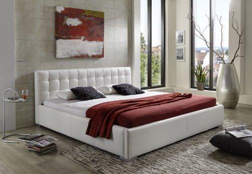 SAM Polsterbett 140x200 cm Vita weiß, pflegeleichtes Design-Bett mit Kunstlederbezug, abgestepptes Kopfteil & Seitenteil