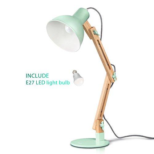 Tomons LED Leselampe im klassichen Holz-Design, Einstellbarer Winkel (spezifischer Produkt nur Kopf), 1 x 8W LED Birne eingeschlossen