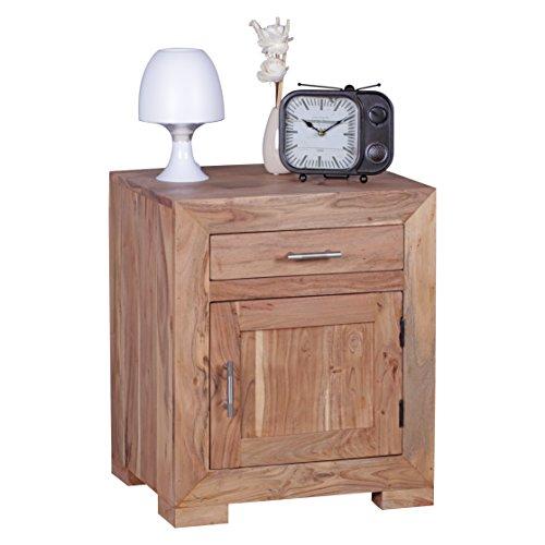 WOHNLING Nachttisch Massivholz Design Nachtkommode 60 cm mit Schublade und Tür Nachtschrank für Boxspringbett