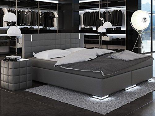 SAM® LED-Boxspringbett Berlin mit Samolux®-Bezug in grau, LED-Beleuchtung an Füßen & Kopfteil, Bonellfederkern-Matratze H3, extra dicker Topper, 200 x 200 cm