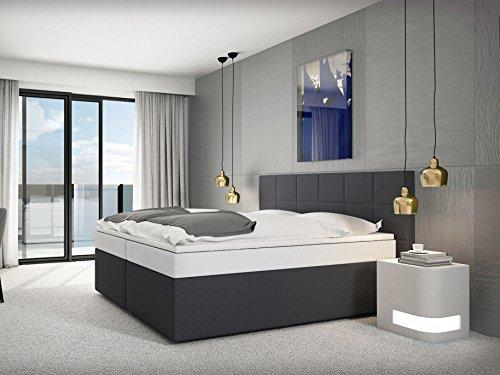 SAM® Design Boxspringbett Stuttgart mit Neo Stoff-Bezug in dunkel-grau mit Bonellfederkern, 7-Zonen H3 Taschenfederkern-Matratzen, Viscoschaum-Topper, Memory-Effekt, 180 x 200 cm