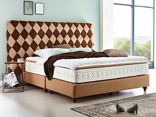 Luxus Boxspringbett braun Velour Libery XXL Design Hotelbett Doppelbett Taschenfederkern mit Topper