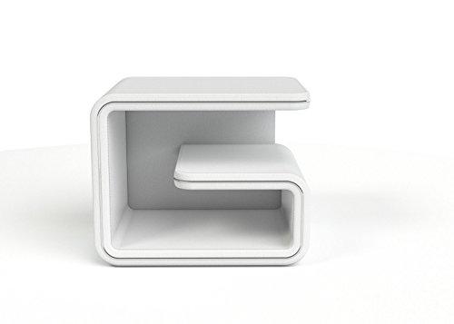 SAM® Nachtkommode 99 cords in weiß silber, rechts,Nako aus SAM®-Lederimitat, Nachttisch mit großzügigem Stauraum, Nachtkonsole in futuristischem Design