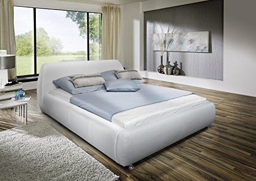 SAM Polsterbett 180x200 cm Dallas weiß, mit gepolstertem abgerundetem Kopfteil, Chromfüße, als Wasserbett verwendbar