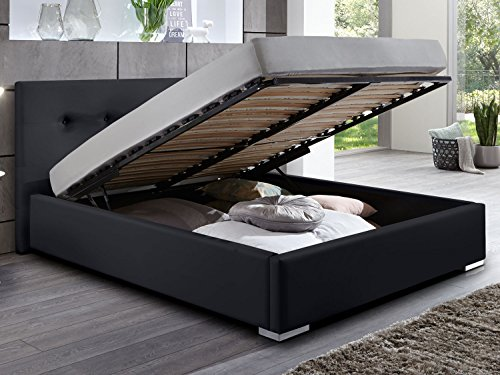 Polsterbett Bett mit Bettkasten schwarz Betty Doppelbett Ehebett mit Lift Lattenrost (140 x 200 cm)