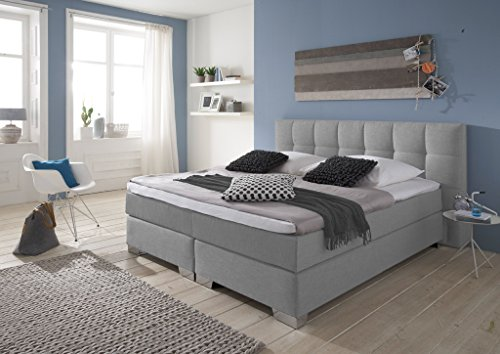 Designer Boxspringbett Home, Made in Germany, Tonnentaschenfederkern in der Box UND in der 7-Zonen Matratze, Visco Topper, Luxusbett, Hotelbett, Doppelbett Grau, H2/H3, 180x200cm