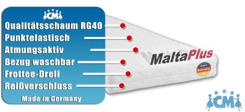 Babymatratze Kindermatratze MALTA PLUS. Hochwertige Matratze für Babybett / Kinderbett Liegefläche 80 x 190 cm. Atmungsaktive Schaumstoffmatratze mit Frotteebezug. Kaltschaum Öko-Tex Standard 100 zertifiziert.