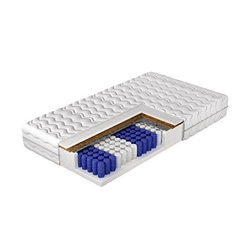 Beidseitigematratze Nevada Taschenfedern, 7-Zonen Matratze, Härtegrad H2 H3, Kokosmatte, Schafwolle Komfortschaum Bettcomfort