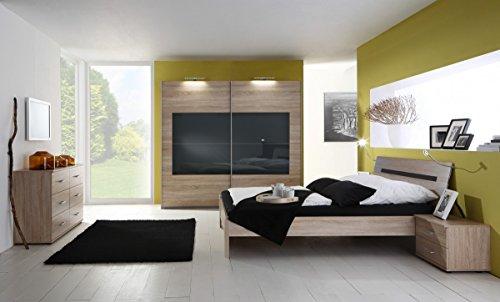 Dreams4Home Schlafzimmerkombination 'Jessy', 1 Schrank, 1 Bett, 2 Nachtkonsolen, 1 Kommode, Schlafzimmer Set
