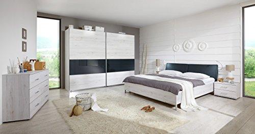 Dreams4Home Schlafzimmerkombination 'Light II', Schlafzimmer, Bettgestell, Weißeiche, Vintage, Bettrahmen, Nachtschrank, Kleiderschrank, Schwebetürenschrank, Kommode