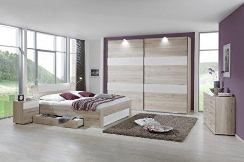 Dreams4Home Schlafzimmerkombination 'Slim III', Schlafzimmer, Bettgestell, Eiche, weiß, Vintage, Bettrahmen, 2x Nachtschrank, Kleiderschrank, Schwebetürenschrank, Kommode