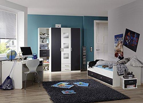 Komplett Jugendzimmer Set weiß anthrazit Jugendbett Kleiderschrank Schreibtisch