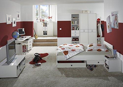 Komplett Jugendzimmer 11tlg-Set weiß Kleiderschrank Schreibtisch Jugendbett