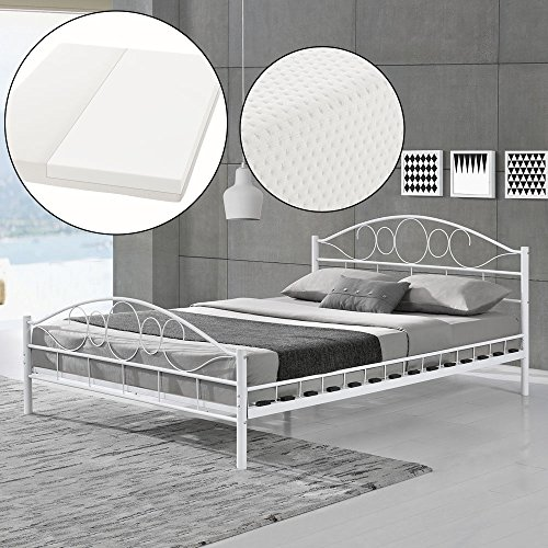 ArtLife Metallbett Toskana - 140 x 200 cm - Weiß mit Lattenrost & Kaltschaummatratze