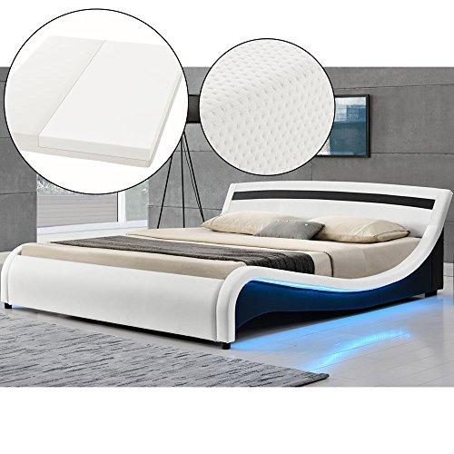 Polsterbett Malaga 180 x 200 cm LED Seitenteilen - weiß mit Kaltschaummatratze   ArtLife