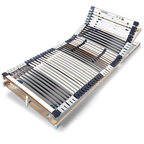 MEDIMED stabiler BUCHE Lattenrost - TÜV/GS + LGA/QS - FERTIG MONTIERT - 7-Zonen - 44-Leisten - verstellbar - 3 x KOPF+RÜCKEN+FUSS=SITZRAHMEN - Holmabsenkung für Schulter+Becken - BLAUER ENGEL - RAVENSBERGER 100x200 cm