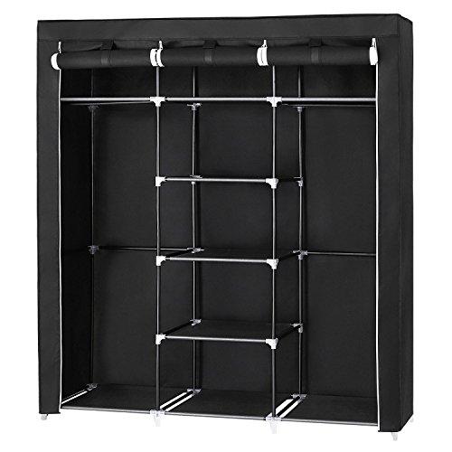 SONGMICS Groß XXL Kleiderschrank Faltschrank Wäscheschrank mit 2 Hakenstange 175 x 150 x 45 cm Drei hochrollbare Türen (Schwarz) RYG12B