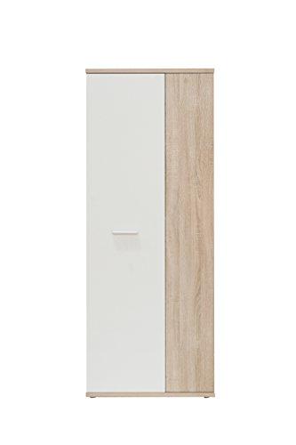 NEWFACE Net106 Mehrzweckschrank, Holz, sonoma eiche + weiß, 68.90 x 34.79 x 179.1 cm