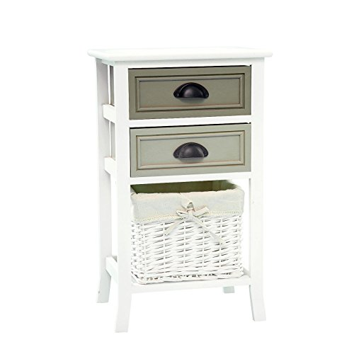 CARO-Möbel Nachttisch Nachtschrank Nachtkommode Toscana in weiß, Shabby Chic Vintage Look, mit 2 Schubladen und Korb