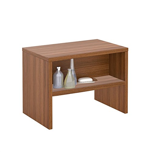 CARO-Möbel Nachttisch Ney Nachtschrank Beistelltisch mit Offenem Fach in nussbaum