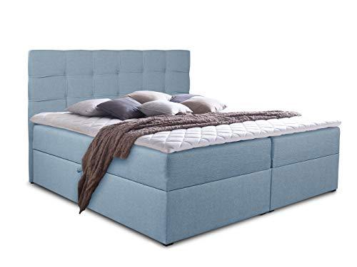 Boxspringbett Best mit 2 Bettkästen, Doppelbett mit Bonell-Matratze und Topper, Polsterbett, Bett, Bettgestell, Stilvoll, Schlafzimmer