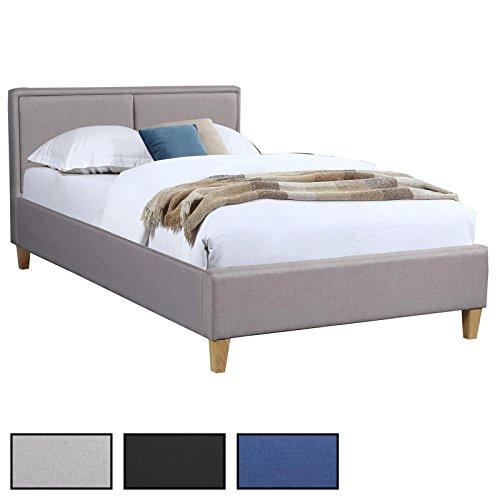 CARO-Möbel Polsterbett Anais Bettgestell Einzelbett 120x200 cm Designbett inklusive Lattenrost, Stoffbezug in 3 Farben