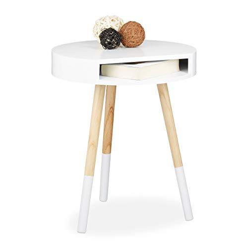 Relaxdays Beistelltisch, Holz, mit Öffnung, Wohnzimmertisch, Sofatisch, H x B x T: ca. 48 x 40 x 40 cm, weiß