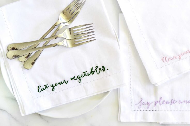 DIY Cursive Embroidered Napkin