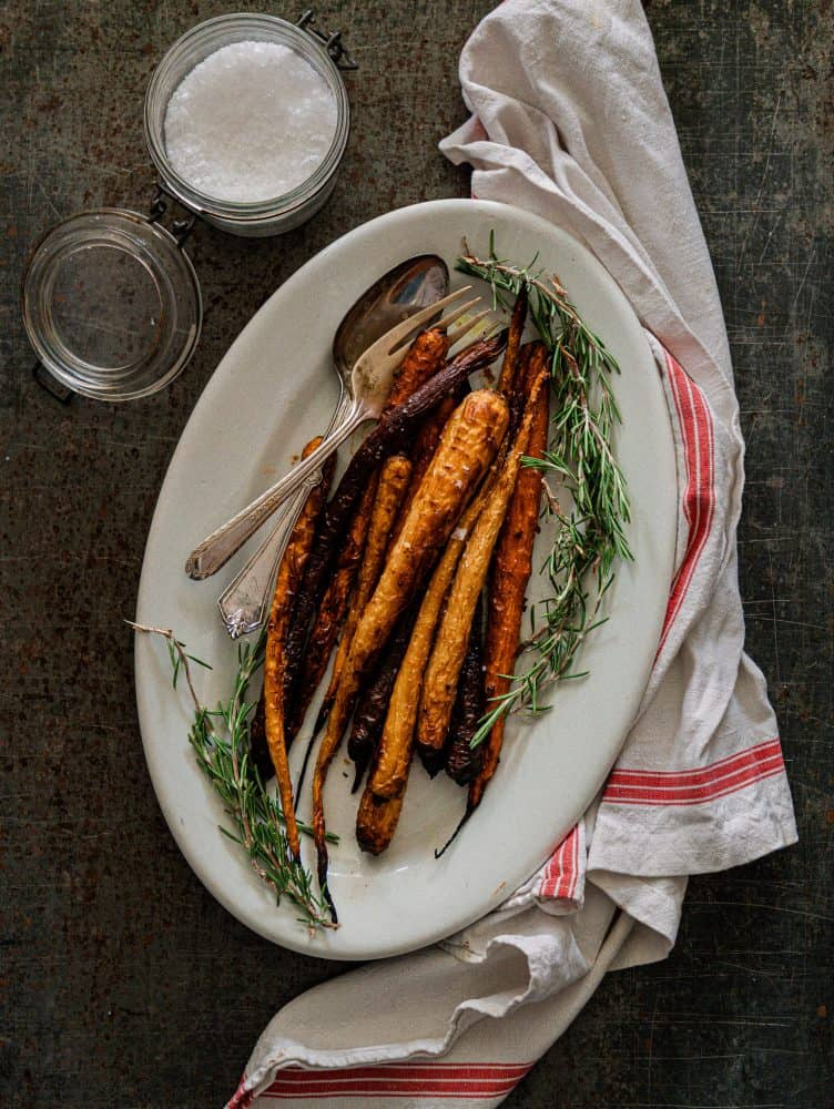 Maple Roasted Carrots on White Dish
