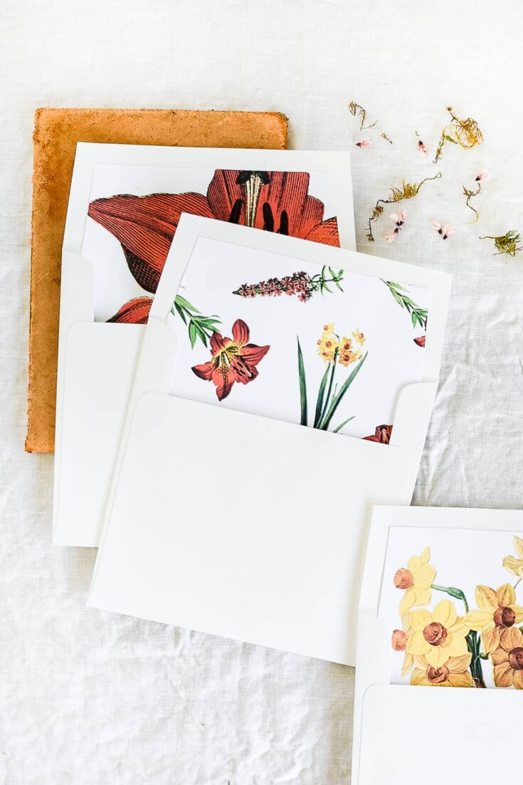 DIY Printable Floral Envelope Liners