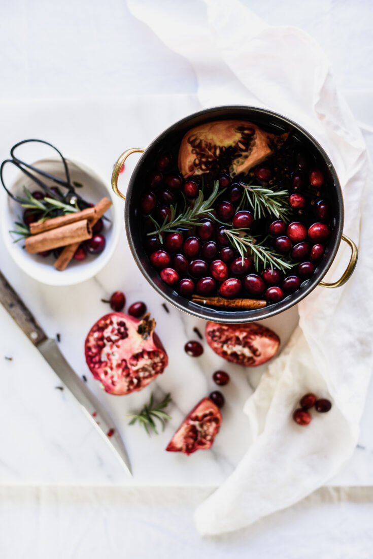 Homemade Stove Top Potpourri with Pomegranates and Cranberries