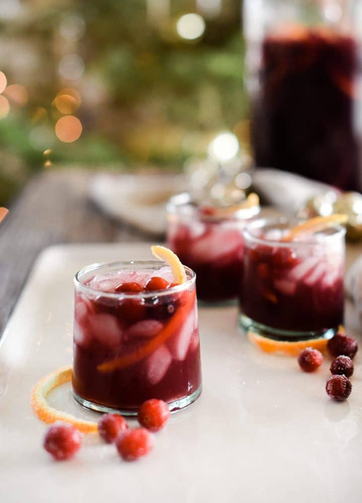 Glasses of red wine sangria with cranberries