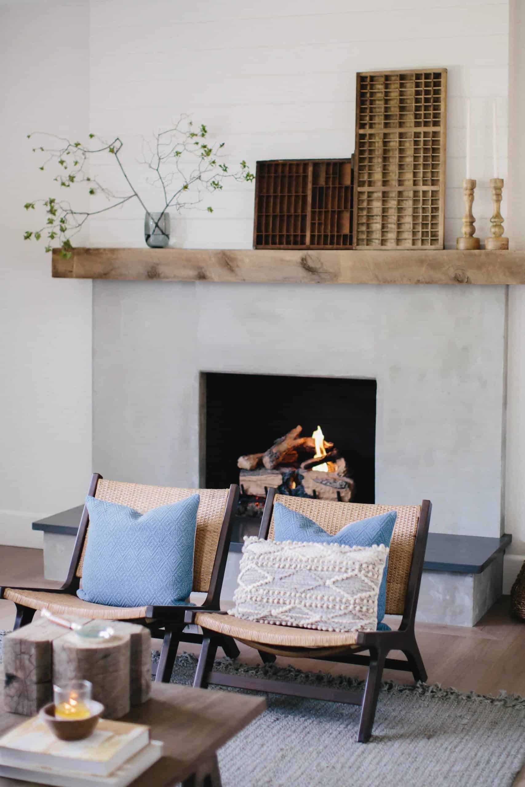 Brick Fireplace Makeover Using Cement Wood Mantel Boxwood Ave