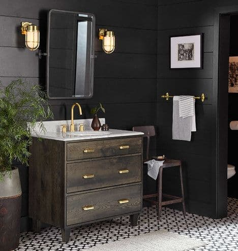 Take a peek at the design plan for our latest bathroom remodel: a black bathroom with wood vanity and gorgeous subway tile with splashes of marble!