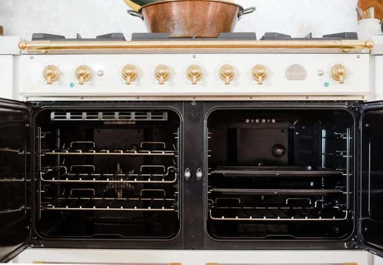 French oven range with open doors
