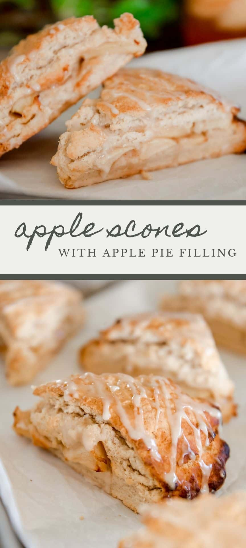 Looking for a delicious recipe for apple scones? You've come to the right place! These apple scones feature apple pie filling sandwiched between two layers of buttery dough!