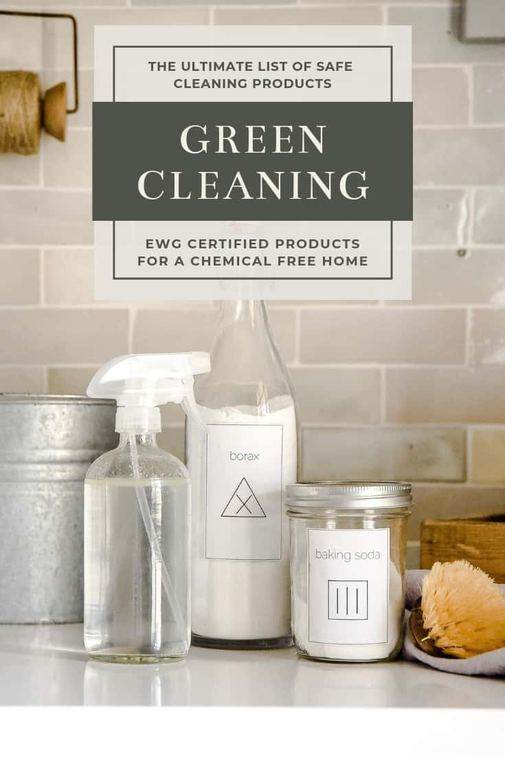 Hoping to switch up your cleaning routine to rid of chemicals and toxins? Here's how you can green clean your home with all-natural and organic cleaning products that have an A rating from the EWG! Use this list to update your cleaning cupboard for a green clean home!