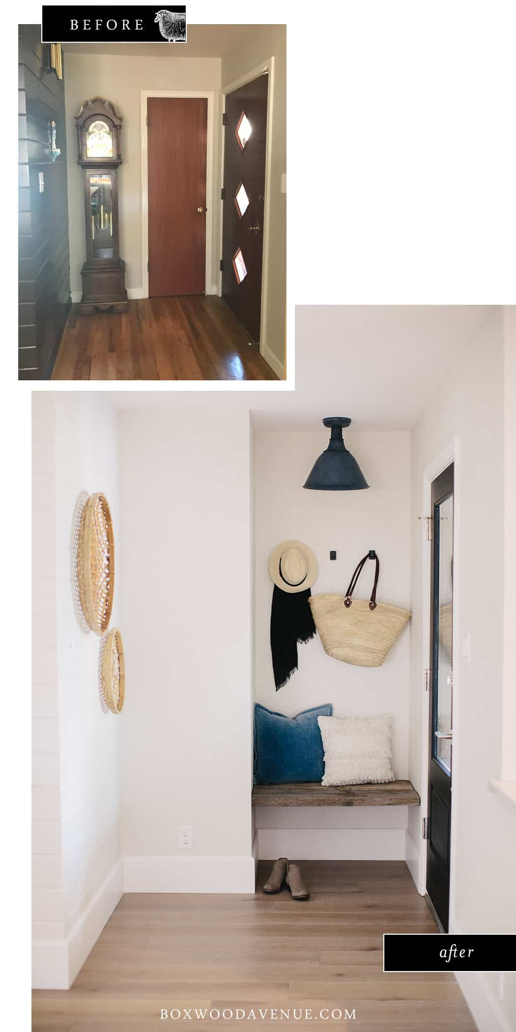 With just an old fence board and a little demo & paint, we turned this entryway into a bright and airy space with a built in bench seat! See how we updated this entryway by getting rid of the coat closet and adding a built in bench!