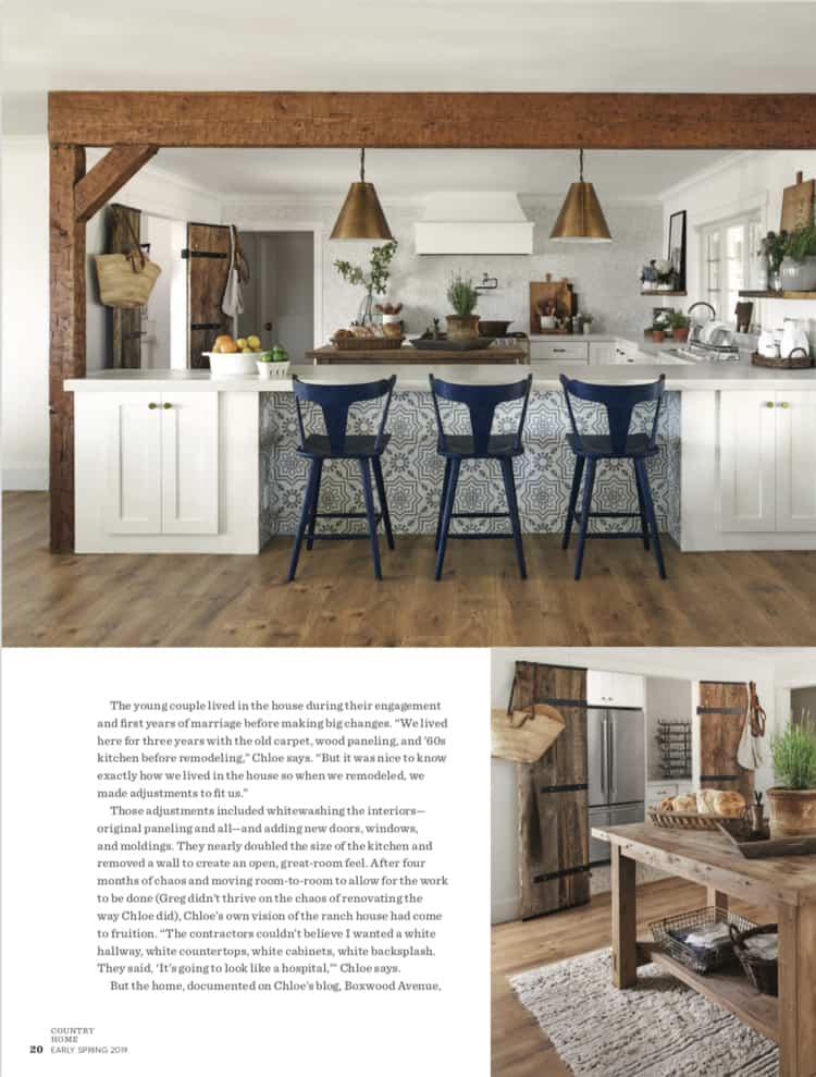 Come take a look into our home through the eyes of photographer Jay Wilde and stylist Lacey Howard in Country Home Magazine's early spring 2019 edition!