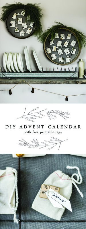 This DIY Christmas advent calendar is made using antique French grain sifters and muslin bags, plus click below to download each day's printable for free!