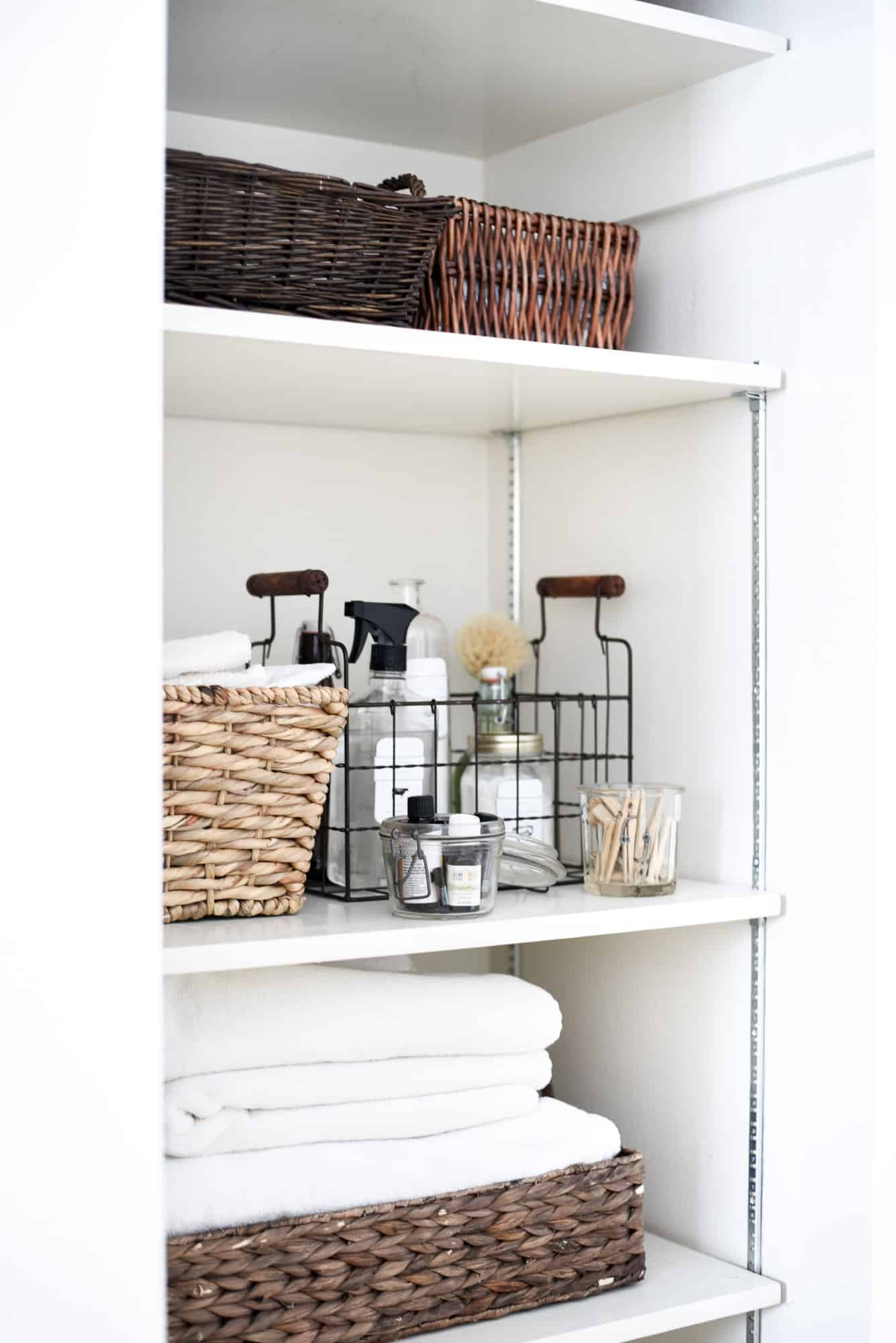 use baskets for closet organization