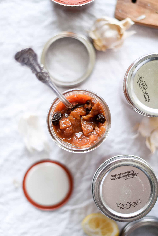 spiced chutney preserves in jars