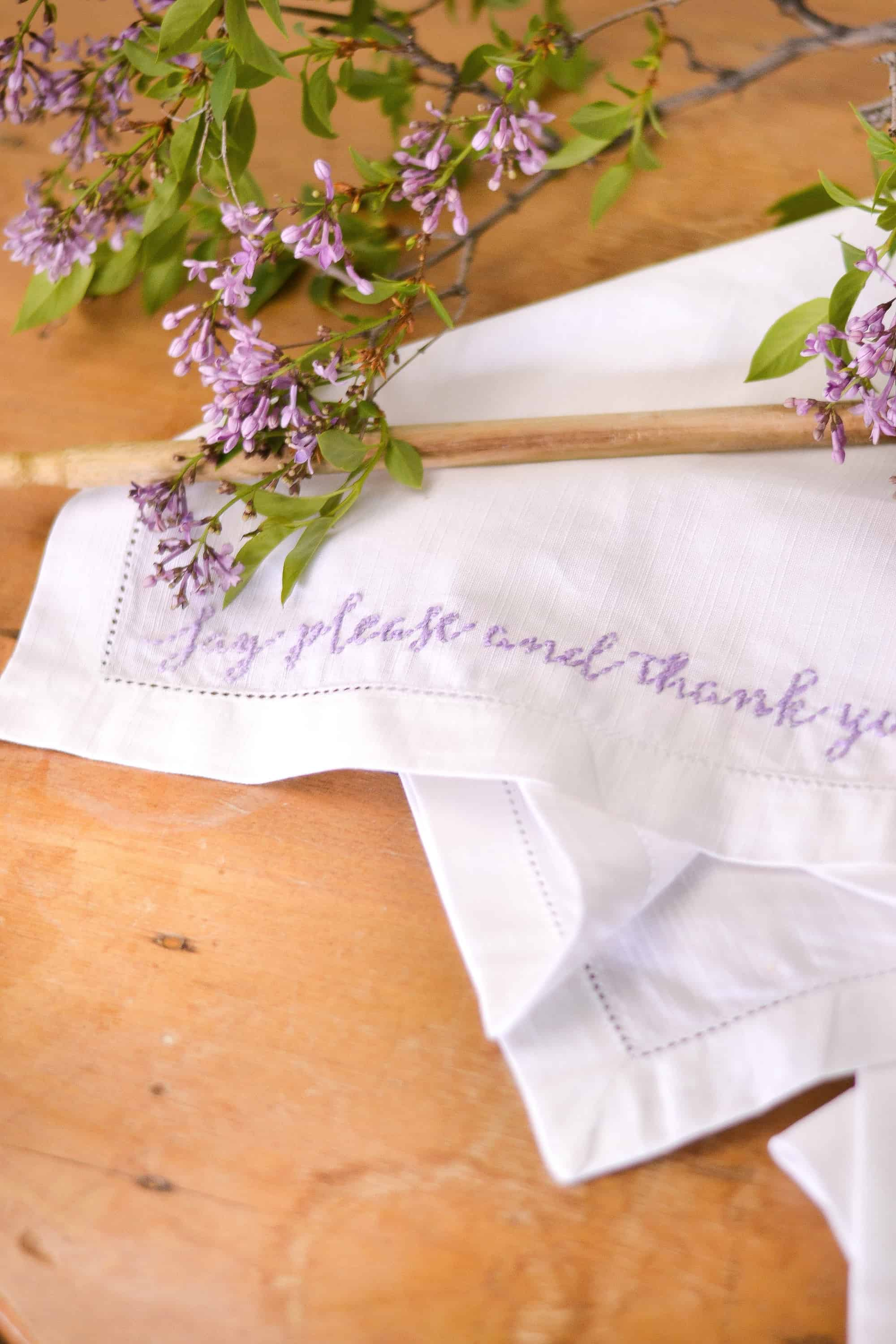 embroidered napkins