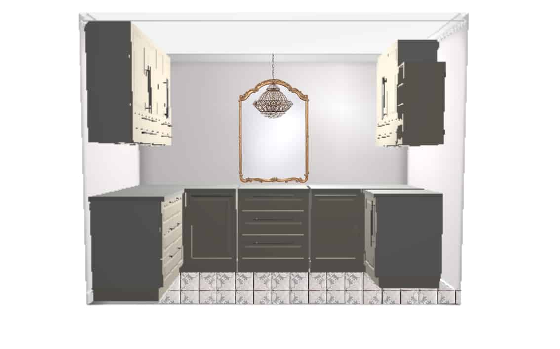 The upper cabinets will actually rest on the lower cabinets on top of the counter top, and reach the ceiling. The cabinets on the right hand side will be built into the wall where the dumbwaiter was.Ikea just wouldn't let me draw that out!