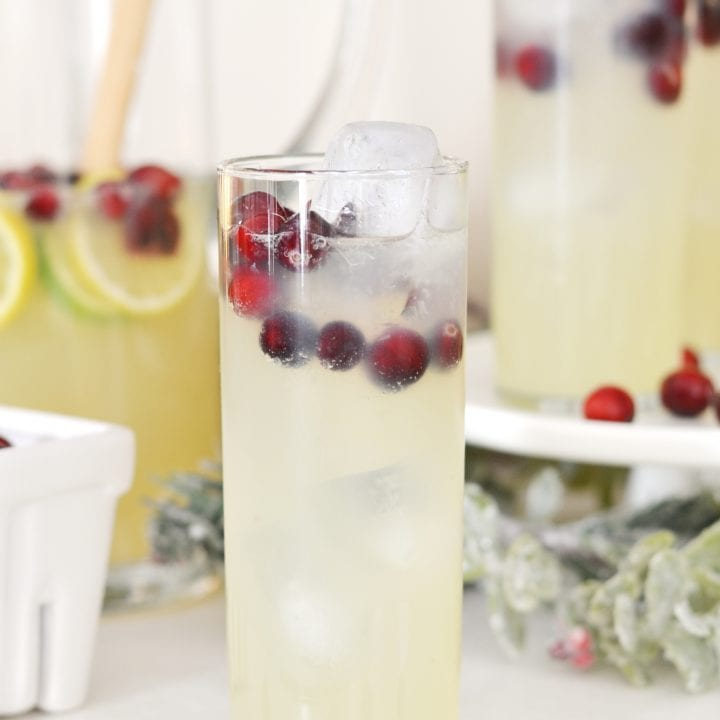 Glass of champagne punch with cranberries